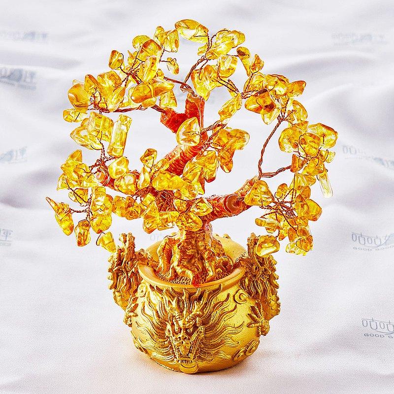天然黃水晶三龍神招財樹(含開光)偏財運、事業運、招貴人、風水