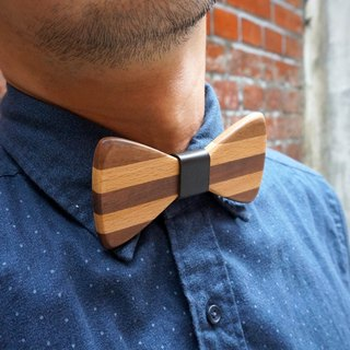 Tie natural hard wood - walnut, beech + + Leather (gift / wedding / couple / formal occasions)