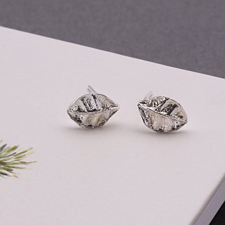 Leaf 925 Sterling Silver Earrings Nature Plant