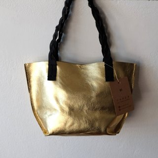 Tiny Gold Leather Tote Bag / Small Golden Handbag.