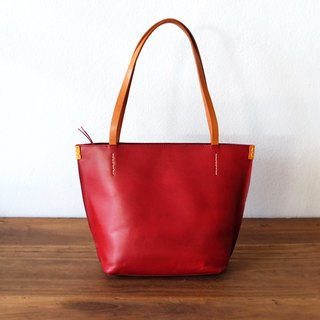 Retro Red Leather Zipper Tote Bag