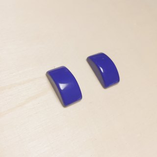 Vintage Dark Blue Square Earrings Ear Clips