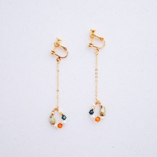 Laughing--Autumn Crystal Pearl Glass Bead Earrings (Christmas Gift)