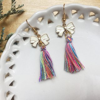 Zoe's forest bow with colorful tassel earrings