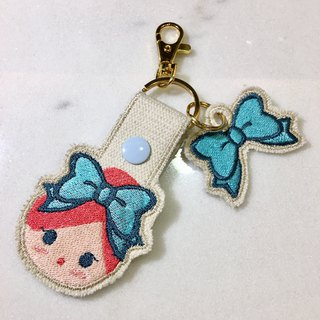 Limited embroidery bow doll key ring charm