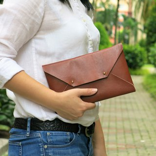 Brown Leather Envelope Clutch, Leather clutch, leather bag, handmade bag MEDIUM