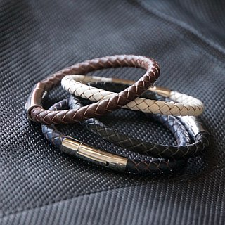 ITS-B606 [Leather rope series, unique leader] 6mm titanium steel woven leather rope bracelet