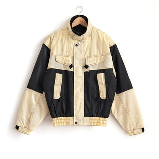 Vintage double black and white double ski coat retro jacket