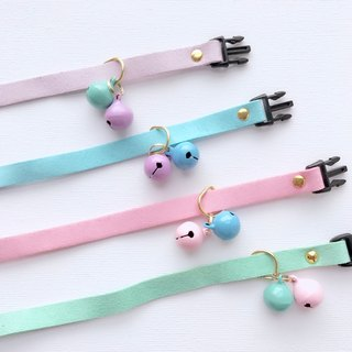 House of Cats Handmade Pastel Cat Collar with a Pair of Small Bells