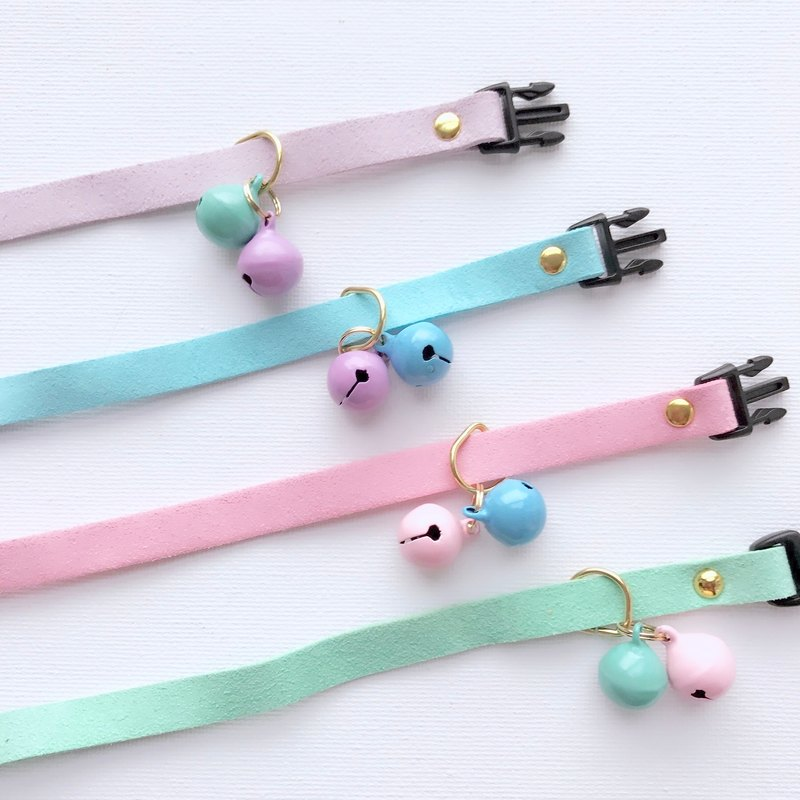 6c48b57d54f27 House of Cats Handmade Pastel Cat Collar with a Pair of Small Bells