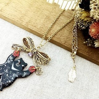 § HUKUROU § three-dimensional lace bow black bear necklace