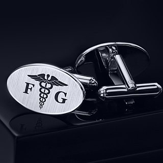 Doctor Cufflinks – Caduceus Cufflinks Sterling Silver – Engraved Cufflinks
