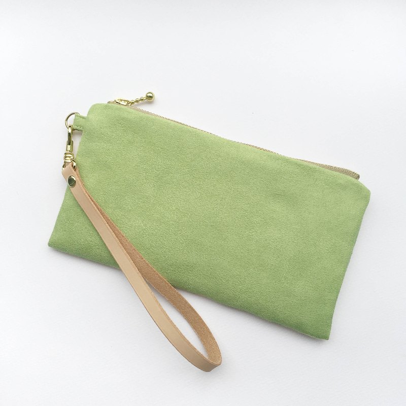 Grass Green - Suede carry bag leather belt cosmetic bag phone bag