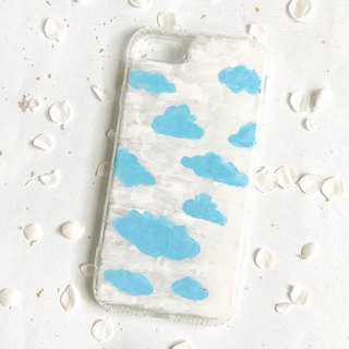 Blue cloud hand-painted acrylic phone shell shatterproof air pressure shell during the day