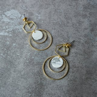 geometry. Brass Natural White Turquoise Disc Earrings