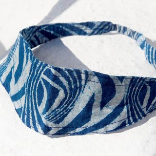 Handmade hair band / pop with high spirit / printing hair band / elastic hair band / hair band French - vegetable dyes indigo blue dye ocean