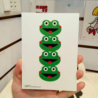 Four frogs open card