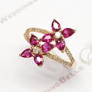 18K Rose gold / Ruby with Diamond Ring / Pear shape (Free Shipping)