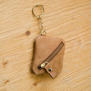 [small box] ZiBAG-010 / coin purse / key ring / tea brown - scratching