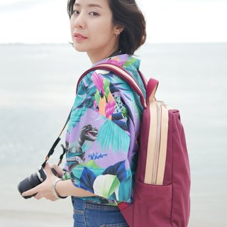 gift ! WEEK'N BACKPACK (MAROON RED & CREAM)