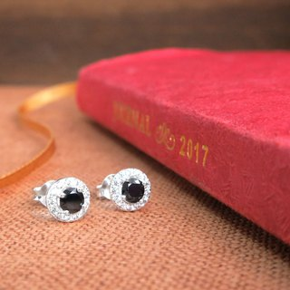 Single diamond star 925 sterling silver earrings 7mm (one pair - two colors optional)
