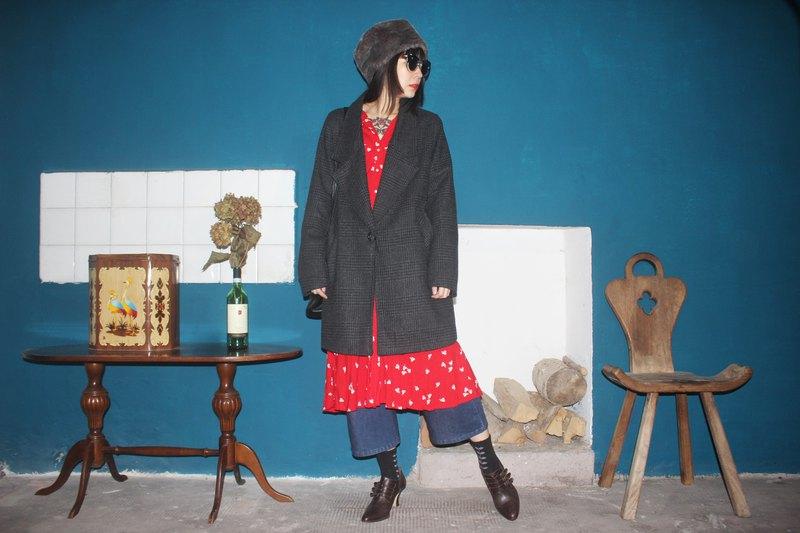 義大利製裏標vintage深灰色大衣外套