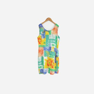 Dislocation vintage / Colorful watercolor sleeveless dress no.699 vintage