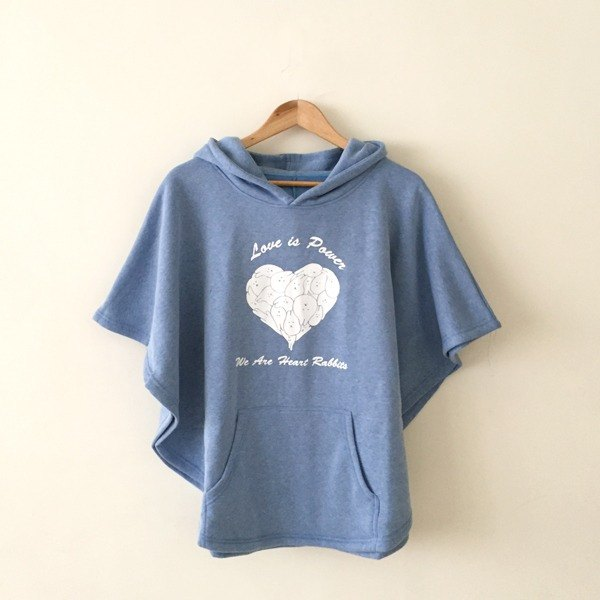 *Mori Shu*Mochi rabbit love winter cloak (linen blue)