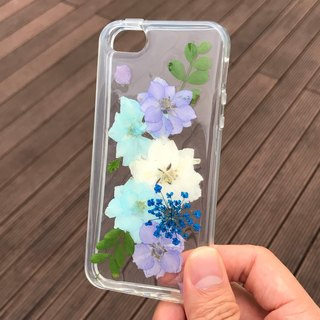 Dried Pressed Flowers Handmade iPhone SE / 5S / 5 Blue Flower case 029