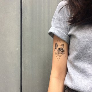 cottontatt cat geometric temporary tattoo sticker
