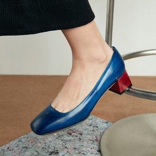 H THREE Classic Square Heel Shoes / Sailor Blue / Blue / Thick Heel / Retro