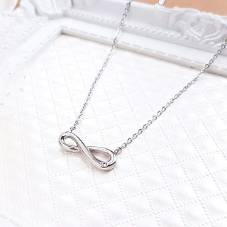 Belle Blossoming Infinity Necklace (Single Diamond) Classic Eternal Infinity Symbol is not afraid of water and discoloration