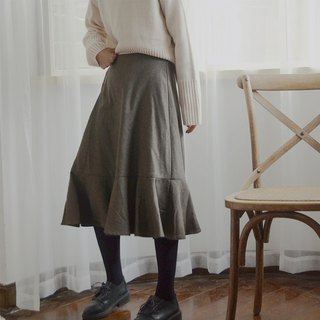 Dark dark green high waist skirt | skirt | autumn and winter models | wool blend | independent brand | Sora-215