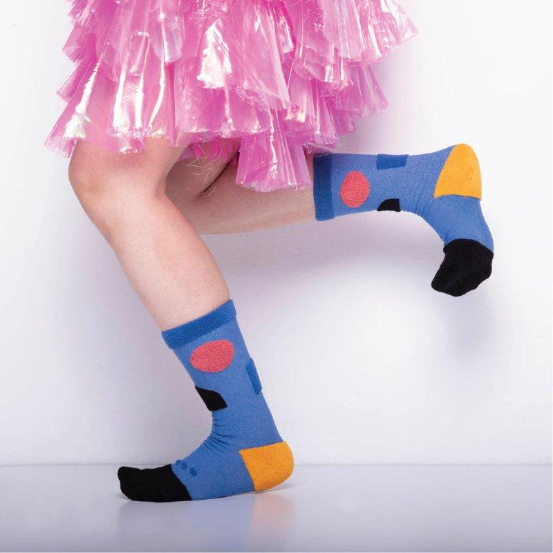 內在美系列 - 寧 寶藍色 雙面中筒襪 Reversible Socks