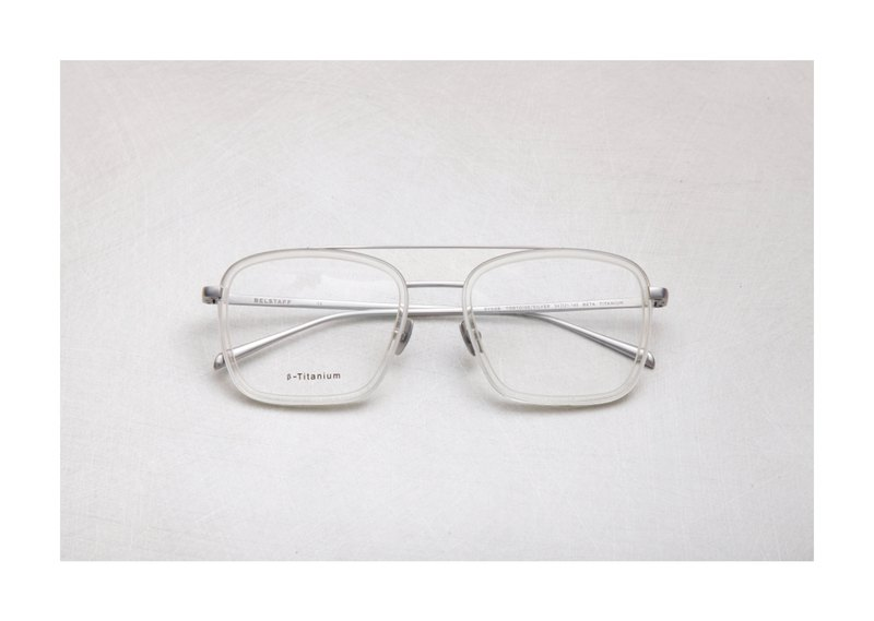 日本鈦金屬復古雙槓鏡框 透色