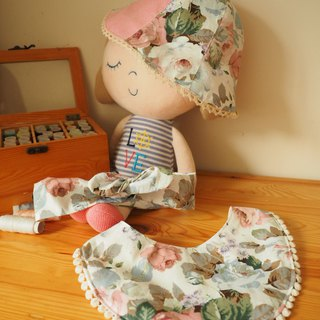 Handmade reversible rose pattern sun protection hat, headband and bib gift set