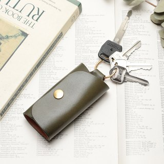 Minimal morning tree green hand dyed yak leather handmade copper hardware ring buckle key case
