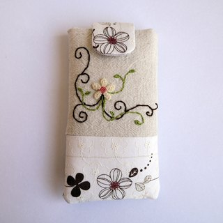 White flower embroidery phone bag (M) for 5 inch mobile phone