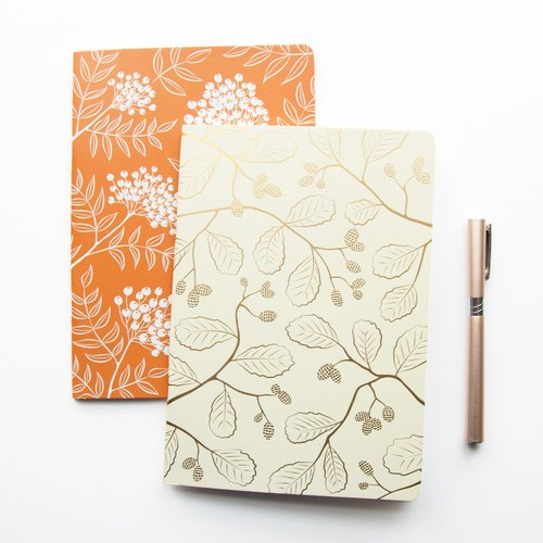Two A5 Notebooks with Gold Foil and Orange Floral Pattern - Travel Journal
