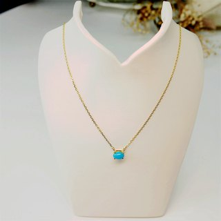 [Lalune] quiet deep Turkish stone yellow 925 sterling silver K color necklace