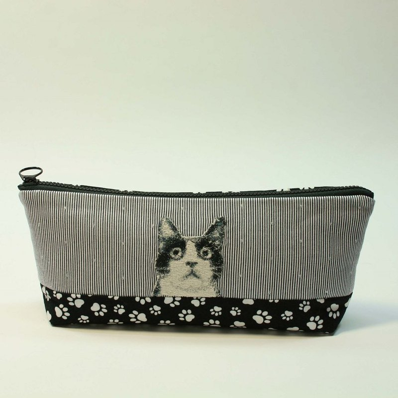 Embroidery Pencil Bag 16 - Black and White Cat