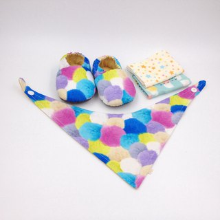 Blue fluffy ball - Miyue baby gift box (toddler shoes / baby shoes / baby shoes + 2 handkerchief + scarf)