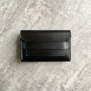 Black Leather Double Layer Business Card Holder / Business Card Pack / Card Pack Free Customized Free Lettering