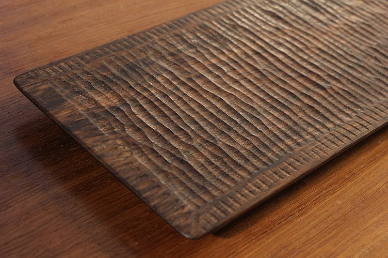 solid Burmese walnut wood serving plate