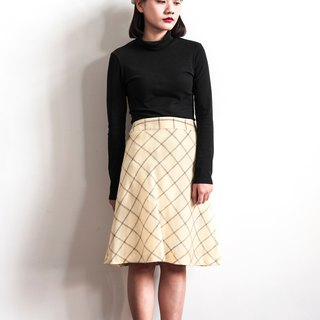 Vintage beige slash lines vintage wool skirt