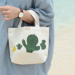 Cactus Garden Hand-Printed Canvas Bag S