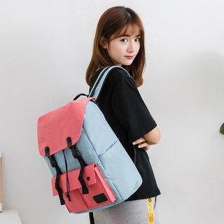 Lightweight Backpack Waterproof Travel Bag Shoulder Bag Little Predator - Sky Blue and Pink