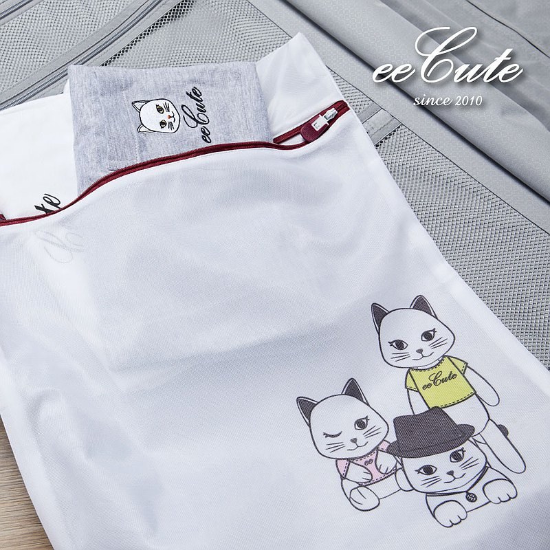 Feeling good product x eeCute co-branded-MIT cute cat fine net laundry storage dual-use bag (40X50cm)