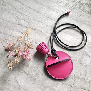 KAKU handmade leather gogoro key leather case small tassel hanging pink