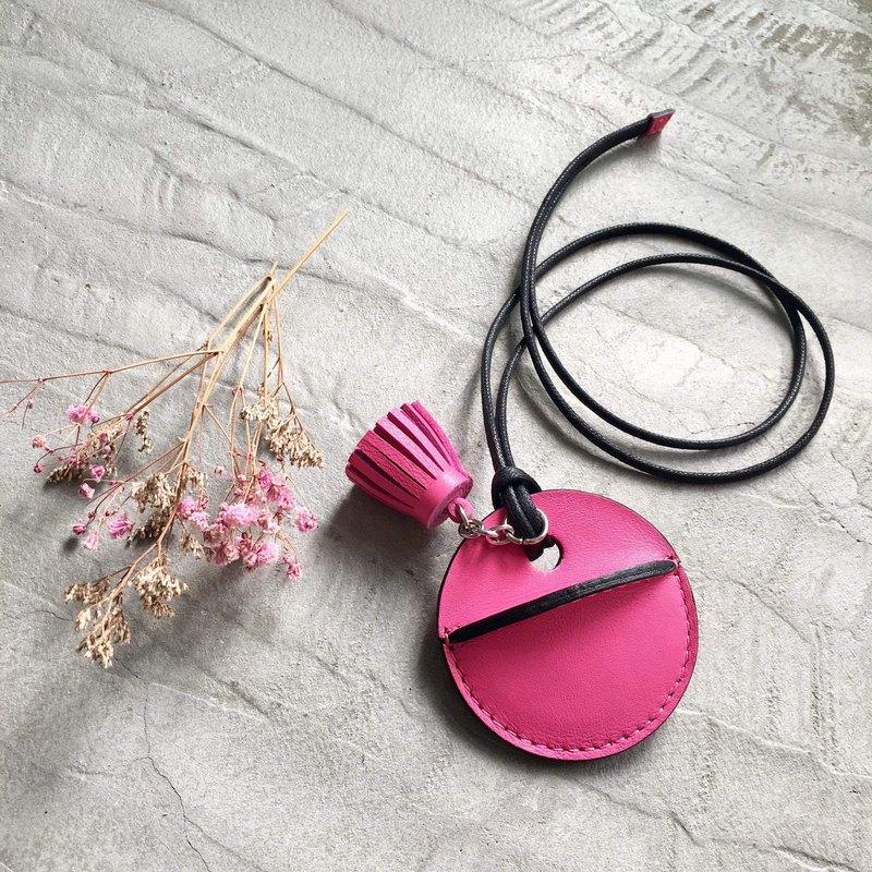 gogoro鑰匙皮套訂製 小流蘇吊飾款 粉紅色